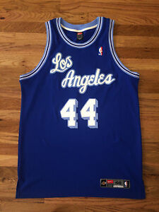 Jerry West Authentic Vtg DRI FIT NIKE Los Angeles Lakers Jersey SEWN kobe Sz 48