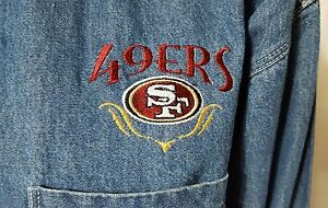 San Francisco 49ers Womens Denim Embroidered Shirt Top Football Size M