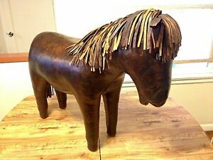 OMERSA Large Vintage Leather Pony Horse Footstool Ottoman Abercrombie Fitch