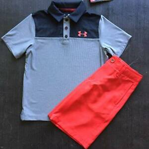 BOYS UNDER ARMOUR SMALL (78) GRAY POLO & RED MEDAL SHORTS OUTFIT NWT
