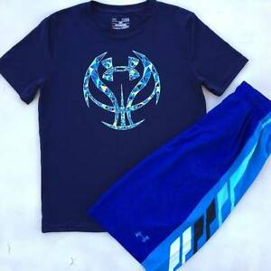 BOYS LARGE 1416 UNDER ARMOUR NAVY BASKETBALL SHIRT & BLUE SHORTS OUTFIT NWT