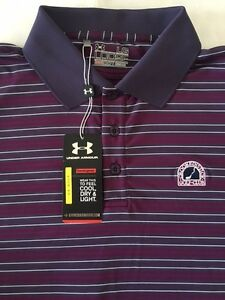 Under Armour Men's Crooked Stick Golf Club Logo Striped Polo - Large - NWT