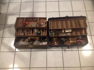 Two Vintage Metal Fishing Tackle Box With Reels Fishing Lures & More As Found**