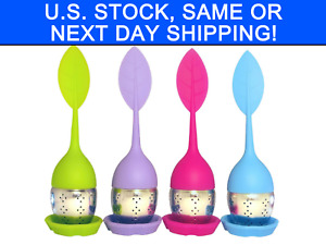 4 Pack Loose Leaf Silicone Stainless Steel Tea Infuser with Drip Tray Cozy Brew