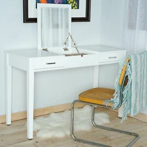 Haven Home Ainsley White Vanity Desk with Built-in USB Port Home Furniture