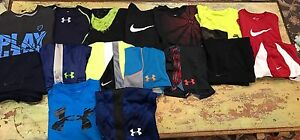 Boys Huge Youth Small YS S Lot Nike Under Armour Shorts Shirts Sets 16pc
