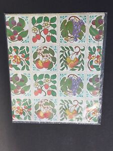 Vintage Fruit Flat Gift Wrapping Paper 2 Sheets Sealed No tags