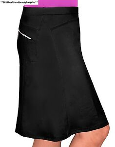Kosher Casual Women's To The Knee Length Running Skirt With Built In Shorts...