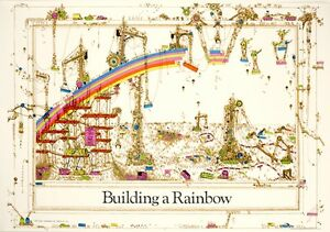 BUILDING A RAINBOW PRINT retro 70s poster 36x24 new free shipping