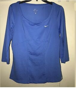 Women's Nike Fit Dry Green Scoop Neck Running Tee Out Shirt Sz Small
