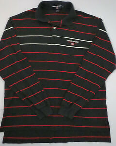Vintage USA Made Polo Sport Ralph Lauren Size L Striped LS Shirt Black Red Cot