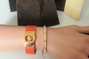 Michael Kors Fulton Orange Olive Brown Black Bracelet Vanilla Brown Monogram