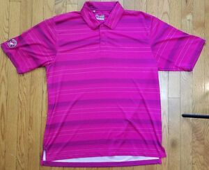 UNDER ARMOUR POLO KEMPER LAKES GOLF CLUB SS shirt striped LOOSE heat gear POLY