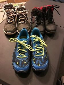 LOT OF 3 PAIR BOYS SNEAKERS SIZE 3 UNDER ARMOUR AND CHAMPION