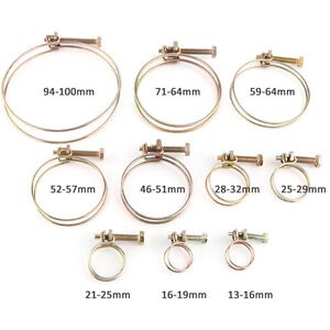 10x Double Wire Hose Clamp Pipe Clip Screw Bolt Tight Fitting Classic Type Zinc