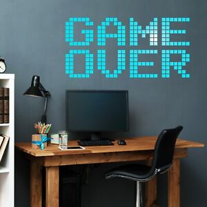 Vinyl Wall Decal Video Game Over Brick Gaming Room Gamer Stickers (ig4825)