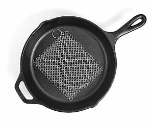New LauKingdom Cast Iron Cleaner XXL 8x8 Stainless Steel Chainmail Scrubber
