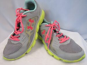 Under Armour Womens Running Walking Sneakers Pink Yellow Grey Leather 9.5 (P020)