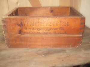 Vintage Rare Winchester 12 GA. Repeater Dovetailed Wooden Ammo Box Crate