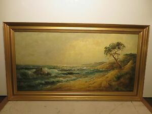 20x40 original 1930s oil painting on canvas by Robert W. Wood