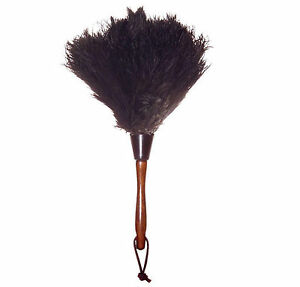 Wool Shop South African 13 in. Dust Cleaner Ostrich Feather Duster, Wood Handle