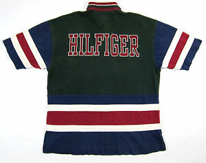 90S VTG TOMMY HILFIGER COLORBLOCK CREST POLO SHIRT SPELLOUT SPORT STRIPED XL