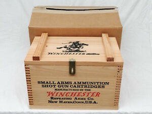 New Winchester Repeating Arms Shotgun Shell Wood Ammo Box 12ga Case Crate Decor