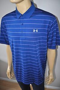 NEW UNDER ARMOUR UA COLDBLACK SWING PLANE STRIPE MEN`S GOLF POLO SHIRT Sz 2XL