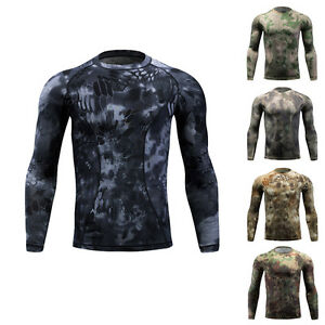 T-shirts Camo Quick Drying Tactical Military Army Elastic Fitness Combat Shirt