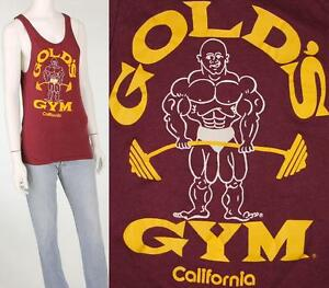 Vintage Golds Gym California USA Workout Tank Top Muscle Tee T Shirt