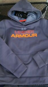 Under Armour Boys Sweater Hoodie Gray Orange Logo Storm YOUTH Small 8-10