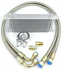 Universal FIT aluminum oil cooler kit with pipes with 16 rows ribs DASH 10