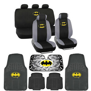 Batman Full SetCar Seat Cover Rubber Floor Mat Official Products w. Accessory