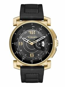 New DIESEL DZT1004 On Hybrid Smartwatch Gold Tone Black Leather Bracelet Watch