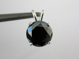 2.55ct BLACK DIAMOND PENDANT NECKLACECERTIFICATEFREE DIA TESTERSNAKE CHAIN