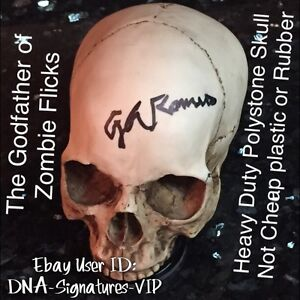 GEORGE ROMERO SIGNED SKULL THE GODFATHER OF ZOMBIES  NIGHT OF THE LIVING DEAD (B