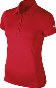 Nike NK241 red womens victory solid dri-fit polo shirt size XS-XL