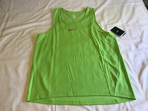 Men's NIKE AeroReact Dri-Fit Running Tank Top Shirt Large 717974 313 Green $80