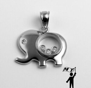 ~ 14K White Gold Floating Happy Elephant Diamond Pendant Necklace Animal Gift ~