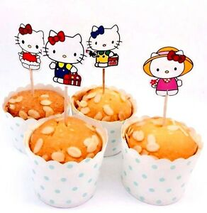 Hello Kitty Cupcake Toppers/ Food Picks Girls Party Decoration Favor Set Of 24
