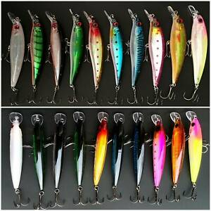 New Bait Hooks Minnow Fishing Lures Crank  Bass Crankbaits Tackle Sinking