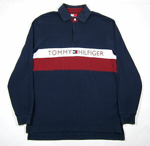 VTG TOMMY HILFIGER RUGBY SHIRT M FLAG PATCH SPORT POLO SPELLOUT RAP STRIPE 90S