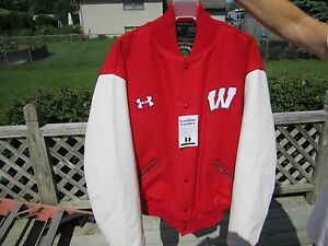 Wisconsin Badgers Under Armour Men's Iconic Varsity XL Red & White Wool & Leathe