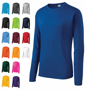 MEN'S MOISTURE WICKING DRY FIT SPORT-TEK Long Sleeve T-SHIRT NEW S-2XL ST350LS