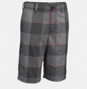 UNDER ARMOUR Boys Golf Shorts Grey Red Plaid HeatGear NWT 1271848 $50 MEDIUM