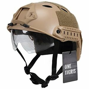Hunting Multifunctional Tactical Helmet Airsoft Paintball Fast Helmet With (Tan)
