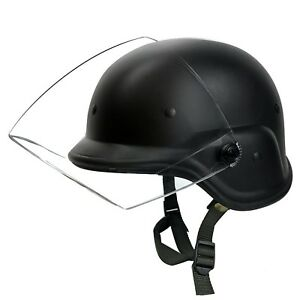 Riot Gear Tactical Durable Airsoft Helmet With Clear Visor Head Protection