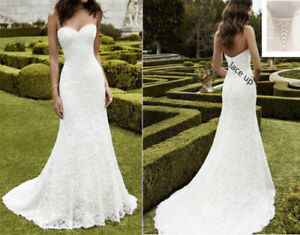Mermaid Sweetheart White  Ivory Lace Wedding Dress Bridal Gown STOCK Size 4-16