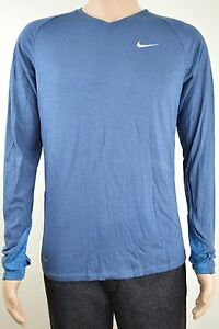 NIKE RUNNING DRI-FIT Athletic Long-Sleeve Shirt Blue Men's Medium New with Tags