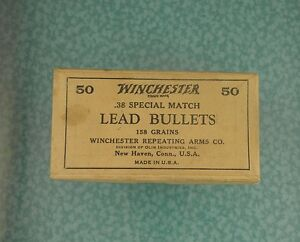 Vtg Winchester 38 Special Match bullets ammo box near mint 1930s lot w411
